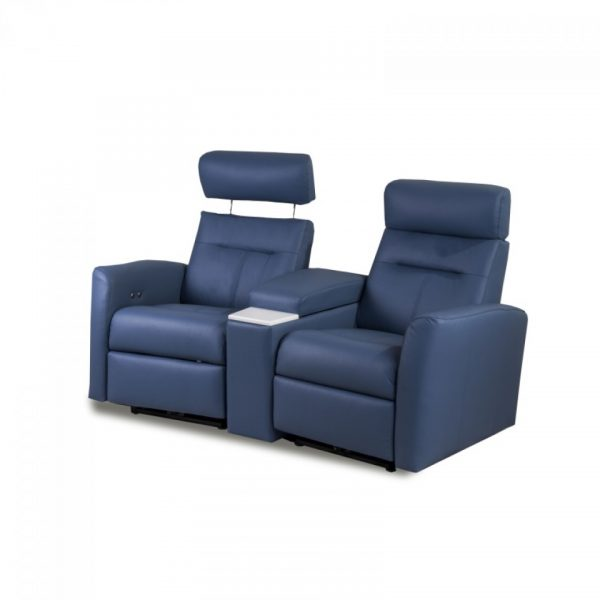 2 Seater Home Cinema Recliners in Blue Leather