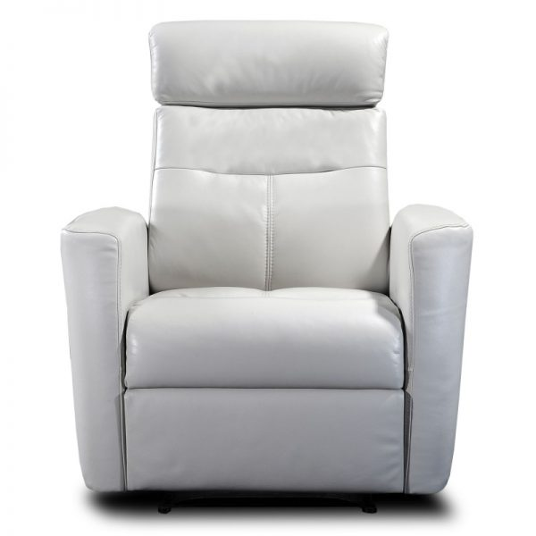 White Leather Recliner Chair Front