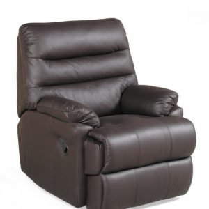 Alba Small Brown Leather Recliner 900mm wide