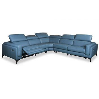 Athena leather sofa in blue leather