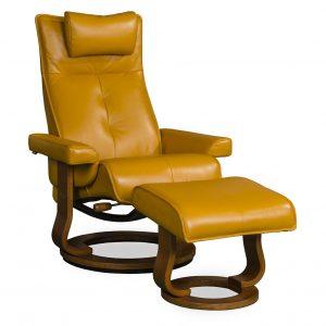 Bella swivel recliner in mustard leather