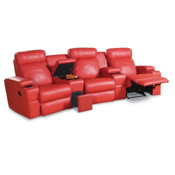 HT Urban 3 seater home theatre in red leather