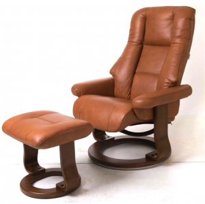Scania leather swivel chair in cointreau leather