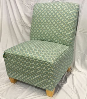 Bedroom Chair in green patterned fabric