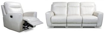 3180 White Leather Recliner Lounge