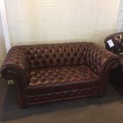 Shirling chesterfield sofa in burgandy leather