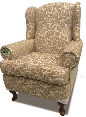 Vintage High Back Wing Chair in patterned fabric