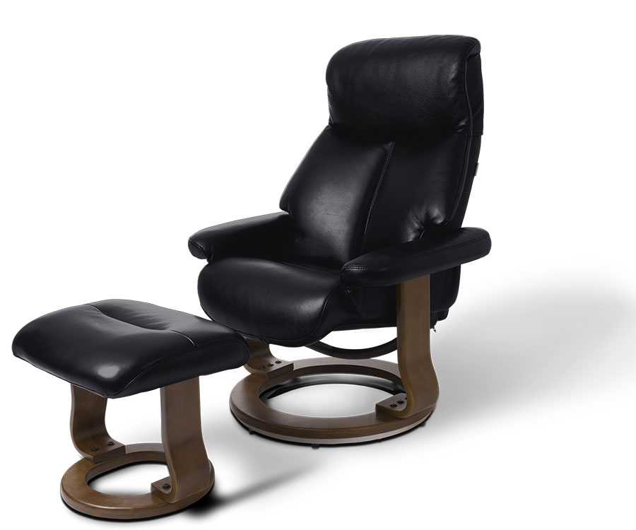 Leone Leather Swivel Recliner in black leather