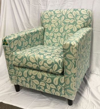 Flynn arm chair in patterned Warwick Fabric