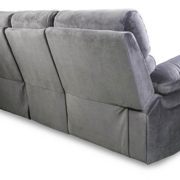 Catalina 3 seater with recliners rear view in grey fabric