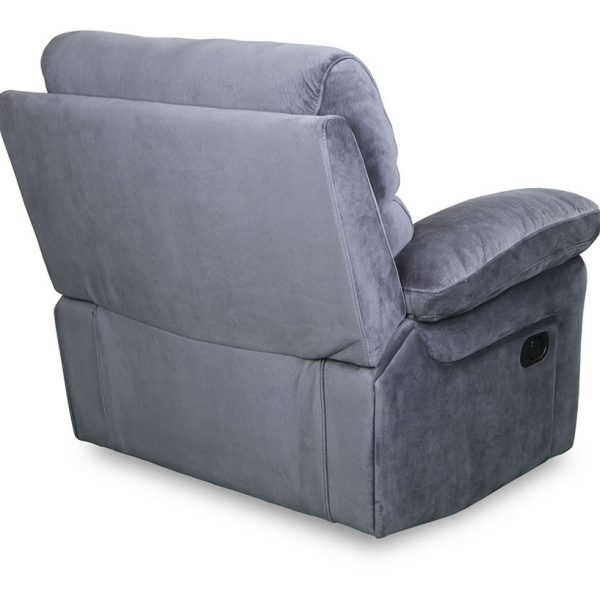Catalina fabric recliner rear view in grey