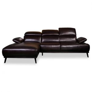 Austin 2 seater plus chaise in 2 tone brown leather
