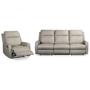 Hazman leather recliner couch in mushroom leather