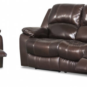 Luke Leather Recliner lounge in 2 tone brown leather