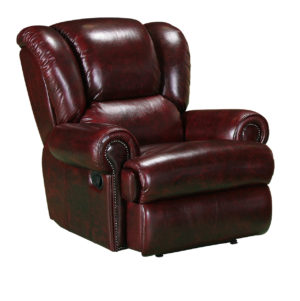 Rwanda chgesterfield recliner chair in washed off burgandy leather
