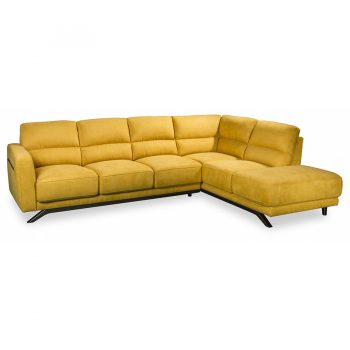 Hollywood 3 seater plu chaise sofa in yellow fabric