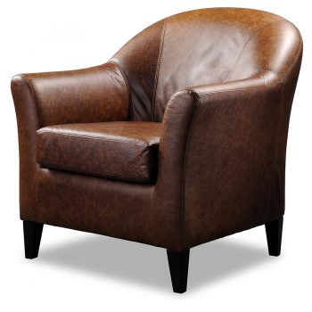 Grace leather tub chair in cracked brown leather