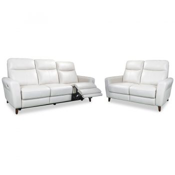 Nashville electric recliner sofa in white leather