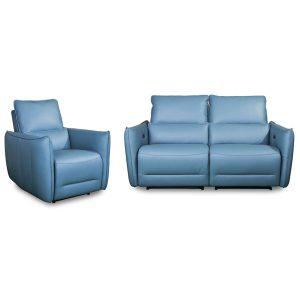 Positano home cinema chairs in Aqua leather